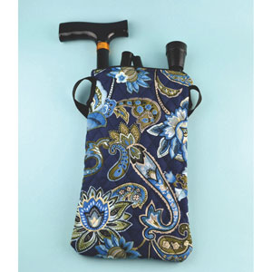 Ableware 703340010 Quilted Folding Cane Bag w/ Strap-Blue Print