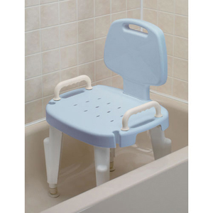Ableware 727142124 Adjustable Shower Seat with Arms and Back-Blue