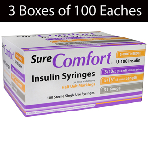 "SureComfort Insulin Syringe-31G x 5/16"" 3/10cc-1/2"" Marks-3 Boxes of 100"