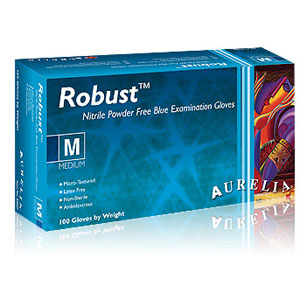 Aurelia Robust Blue Nitrile Exam Gloves-100/Box