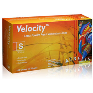 Aurelia Velocity Powder Free Latex Exam Gloves-100/Box