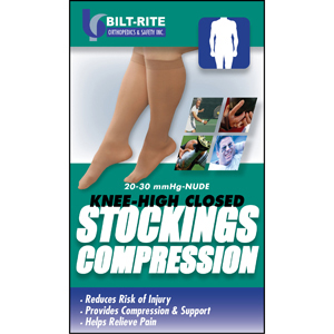 Bilt Rite 10-71600 Knee-High Stockings-20-30 mmHg-Sand