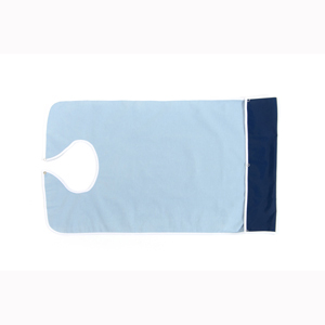 CareActive 9988-0-LBL Terry/Waterproof Crumb Catcher Bib-Light Blue
