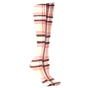 Celeste Stein Womens Compression Sock-Tan Brown Plaid