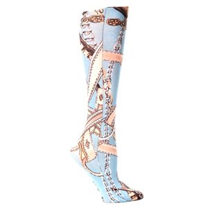 Celeste Stein Womens Compression Sock-Turquoise Saddle Up