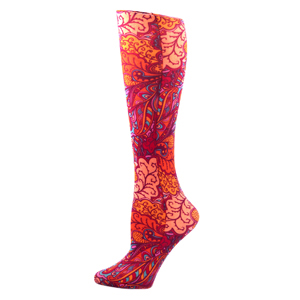 Celeste Stein Womens Compression Sock-Bright Vintage Floral