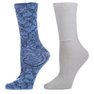 Celeste Stein Diabetic Crew Sock Set-One Size-Midnight Lace & White