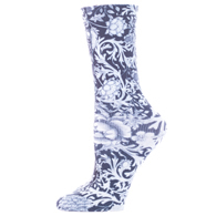 Celeste Stein Diabetic Crew Socks-One Size-Black White Vines & Roses