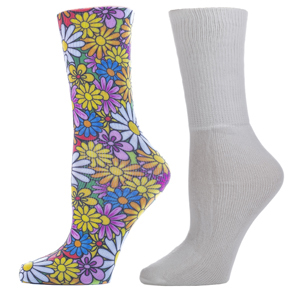 Celeste Stein Diabetic Crew Sock Set-One Size-Colorful Daisies & White