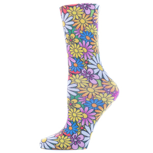 Celeste Stein Womens Diabetic Crew Socks-One Size-Colorful Daisies