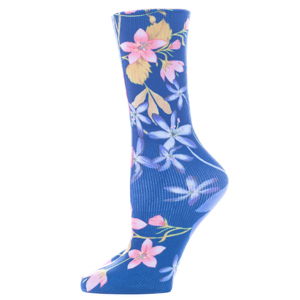Celeste Stein Womens Diabetic Crew Socks-One Size-Navy Paradise