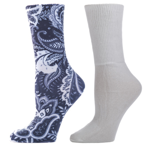 Celeste Stein Diabetic Crew Sock Set-One Size-Black Calypso & White