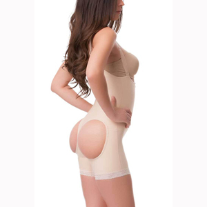 Isavela BE05 Open Buttocks Body Suit & Suspenders-Front Zipper