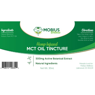 Mobius Wellness Hemp Infused MCT Oil Tincture-No Terpene-500mg Dropper