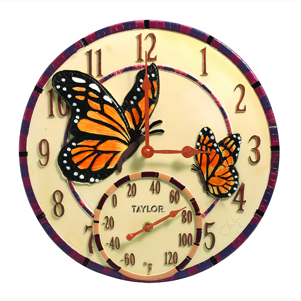 Springfield 91019 Mosaic Butterflies Poly Resin Clock Thermometer Picclick Uk