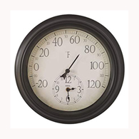 "Springfield 91575 14"" Indoor/Outdoor Patio Thermometer w/ Clock"