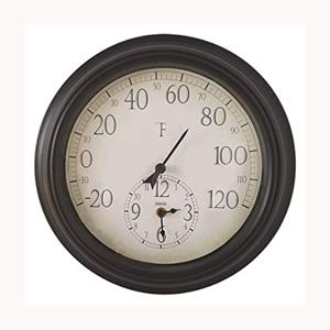 Springfield 91575 14 Indoor Outdoor Patio Thermometer W Clock
