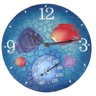 "Taylor 92501T 14"" Tropical Mosaic Fish Clock w/ Thermometer"