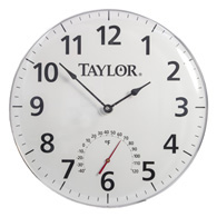 "Taylor 16228M 18"" Patio Clock and Thermometer"
