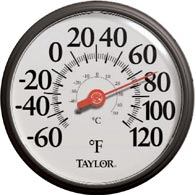 "Taylor 6700 13.5"" Dial Black and White Easy Read Thermometer"